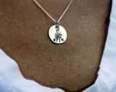 Handstamped Necklace - Kayla Charm with Freshwater Pearl