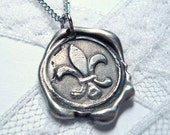 Fleur de Lis  or Your choice of symbol/picture- Original Wax seal necklace as Seen on The Bachelorette