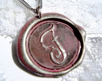 Dusty Rose -Original monogrammed hand stamped wax seal necklace