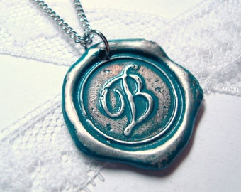 Teal -Original Wax Seal necklace, painted, letter of your choice