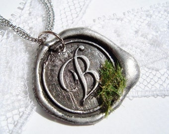Wax Seal Necklace Ritzy Misfit Pendant SECRET GARDEN letter of your choice a b c d e f g h i j k l m n o p q r s t u v w x y z WITH chain