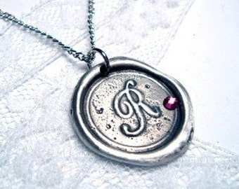 Wax Seal Necklace letter of your choice monogrammed initial WITH SWAROVSKI CRYSTAL a b c d e f g h i j k l m n o p q r s t u v w x y z