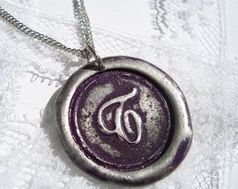 Wax Seal Necklace PLUM colored letter of your choice monogrammed initial WITH chain a b c d e f g h i j k l m n o p q r s t u v w x y z