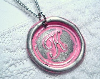Breast cancer awareness -Pink Bubblegum  -Original hand stamped wax seal necklace, painted, letter of your choice, monogram