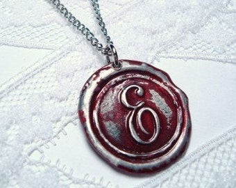 Burgundy wine / blood red -Original hand stamped Wax Seal Necklace, painted, letter of your choice