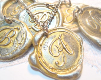 Original Gold painted monogram Wax Seal necklace, letter of your choice