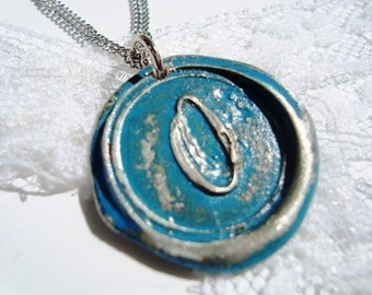 Aqua -Original Wax Seal necklace, painted, letter of your choice