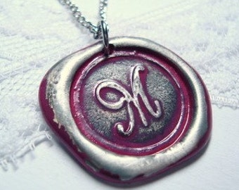 Ritzy Misfit Wax Seal Pendant FUSHIA letter of your choice monogrammed initial