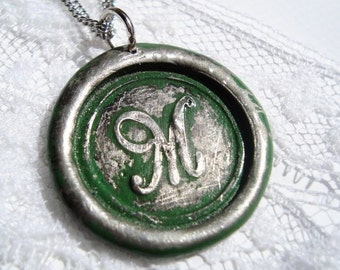 Wax Seal Necklace GREEN colored letter of your choice monogrammed initial  WITH chain a b c d e f g h i j k l m n o p q r s t u v w x y z