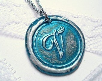 Wax Seal Necklace seen on The Bachelorette-METALLIC TEAL your choice of letter By Ritzy Misfit