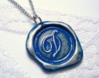 Ali Fedotowsky Necklace Ritzy Misfit Wax Seal Pendant As seen on The Bachelorette- ROYAL BLUE letter of your choice