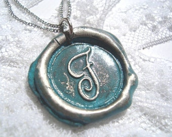 BABY BLUE -Original wax seal monogrammed necklace with letter of your choice. Painted.