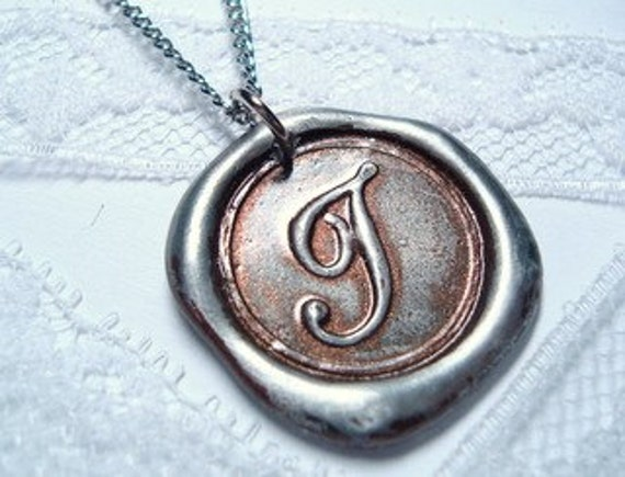 Metallic Brown Original hand stamped wax seal monogrammed necklace, painted, letter of your choice