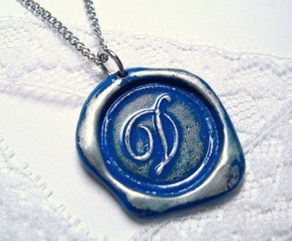 Royal Blue -Original Wax Seal necklace, painted, letter of your choice