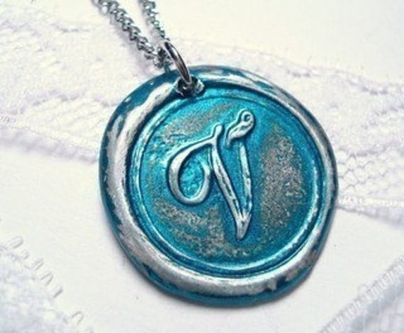 Metallic Teal -Original Wax Seal necklace as seen on The Bachelorette- painted- letter of your choice