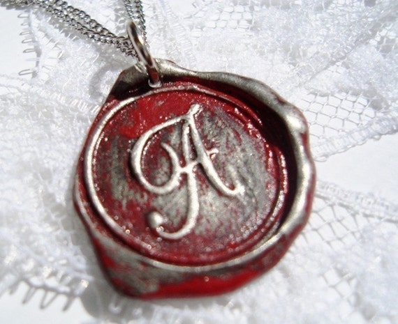 RED letter of your choice monogrammed initial wax seal pendant a b c d e f g h i j k l m n o p q r s t u v w x y z