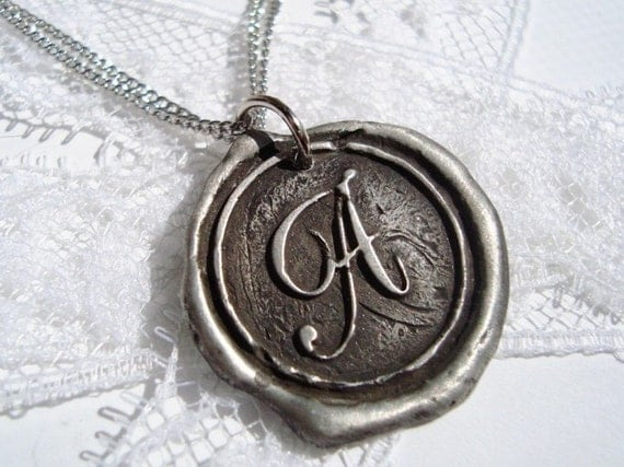 letter of your choice monogrammed initial wax seal pendant a b c d e f g h i j k l m n o p q r s t u v w x y z  WITH CHAIN