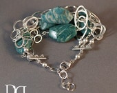 Russian Amazonite and Sterling Silver Messy Bracelet