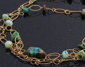Reserved for Lianne- Peruvian Blue Opal Wrap Necklace/Bracelet
