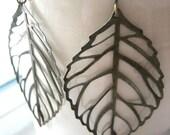 falling leaf earrings. antique bronze filigrees.
