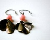 flapper earrings. peach pink coral beads & antique bronze drops.