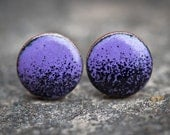Purple/Black Enamel Stud Earrings (3/8 inch)