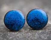 Dark Blue/Black Enamel Stud Earrings (3/8 inch)