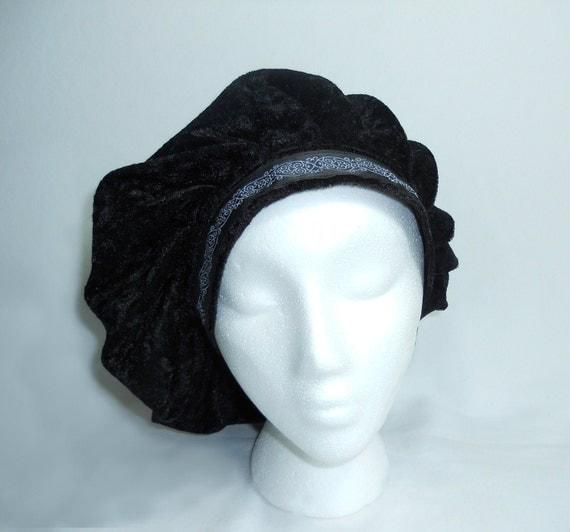 Renaissance Muffin Cap - Medieval Caul - BLACK Crushed Velvet Beret