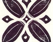 Set of 3 aubergine handmade block print greeting cards