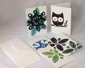 Set of 5 cards handmade block print- Variety Pack