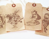 Gift Tag - Alice - Alice In Wonderland - Vintage Inspired - Tea Party Tags -White Rabbit - Mad Hatter -   (Set A)