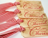 Wedding Tag, Cherish Gift Tag Vintage Style (Set of 4) - Customize this Hang Tag for your Event