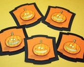 Halloween Tag Funny Pumpkin layered Embellishments - Set of 5 - Halloween Srapbooking & Gift Tag