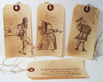 Queen Of Hearts Made Some Tarts Vintage Shipping Tags (Set of  4) Alice In Wonderland Gift Tag
