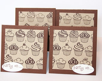 Chocolate Cupcake Party On Mini Note Card Set of 4 Envelopes Included
