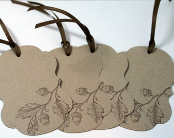 Gift Tags Fancy Fall Acorn - Set of 4