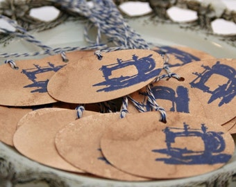 Vintage Sewing Machine -  Set of 10 Tags - For Handmade and Stitched Gifts - Gift Tag - Fabric Gifts - Rustic Label