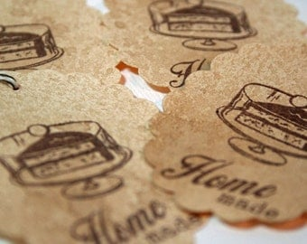 Gift Tags - Home Made Cake - Vintage Cake Stand - Vintage Style Tags - Food Label - Rustic (Set of 4)