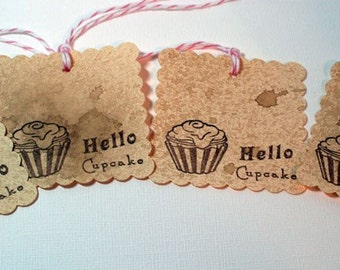 Hello Cupcake - Gift Tags - Vintage Style(Set of 4) For Cupcake Gifts - Party Favors - Handmade Gift Tags - Food Gifts - Baking Tags