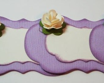 Gift Tag with Dimensional Rose in Soft Violet Label with Flower Embellishement Gift Tag  Set  Flourish Shape