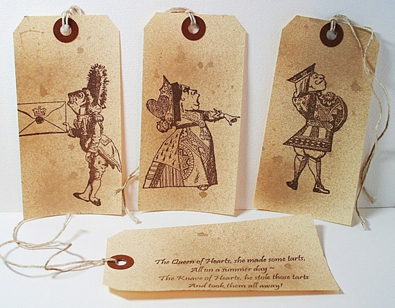 Queen Of Hearts Made Some Tarts Vintage Alice In Wonderland Shipping Gift Tag (Set of 4)