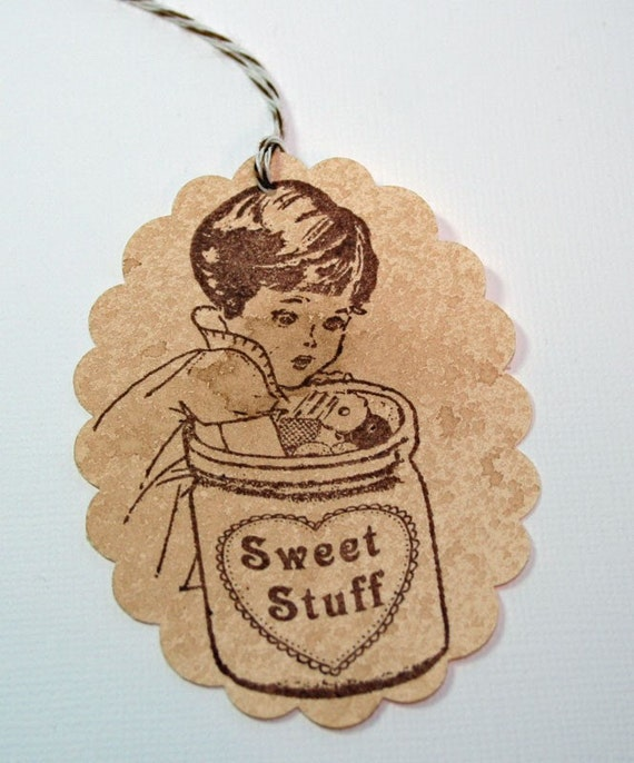 Sweet Stuff Vintage Style, Shabby Chic, Gift Tag (Set of 4) Hand in the cookie jar - Goodies Tag - Food Label