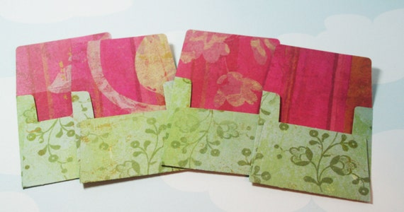 Mini Square Pink and Green Envelope Set of 4 SALE