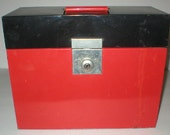 Metal File Box Vintage Red and Black