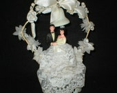 Vintage Wedding Cake Topper Bride and Groom 1950