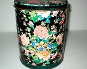 Tin Canister Flowered Pink Roses