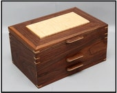Walnut & Curly Maple 2 Drawer Handcrafted Jewelry Box
