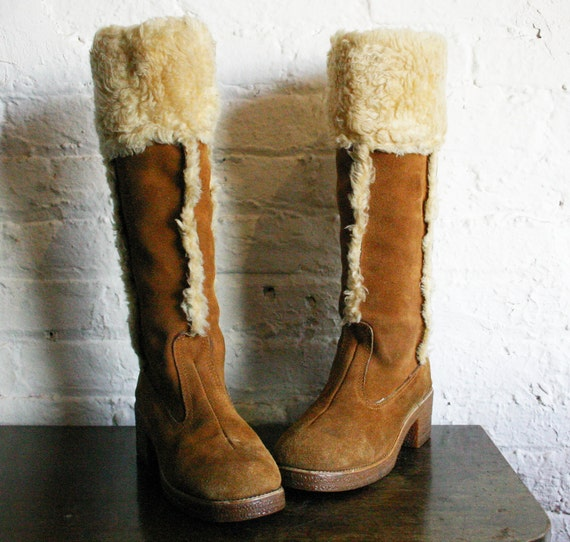 size 8.5 or 9 Vintage 70's 80's Shearling Brown Leather Suede Tall Boots winter snow bunny hipster