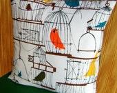 Birdcage Pillow Cover - Happy Retro Birds- 16 inch