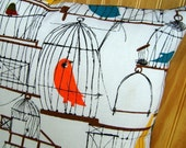 Set of Two Birdcage Pillow Covers - Happy Retro Birds- 16 inch